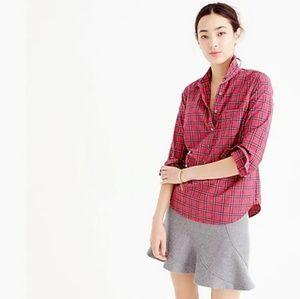 🍁 J Crew Red Tartan Plaid Popover Shirt